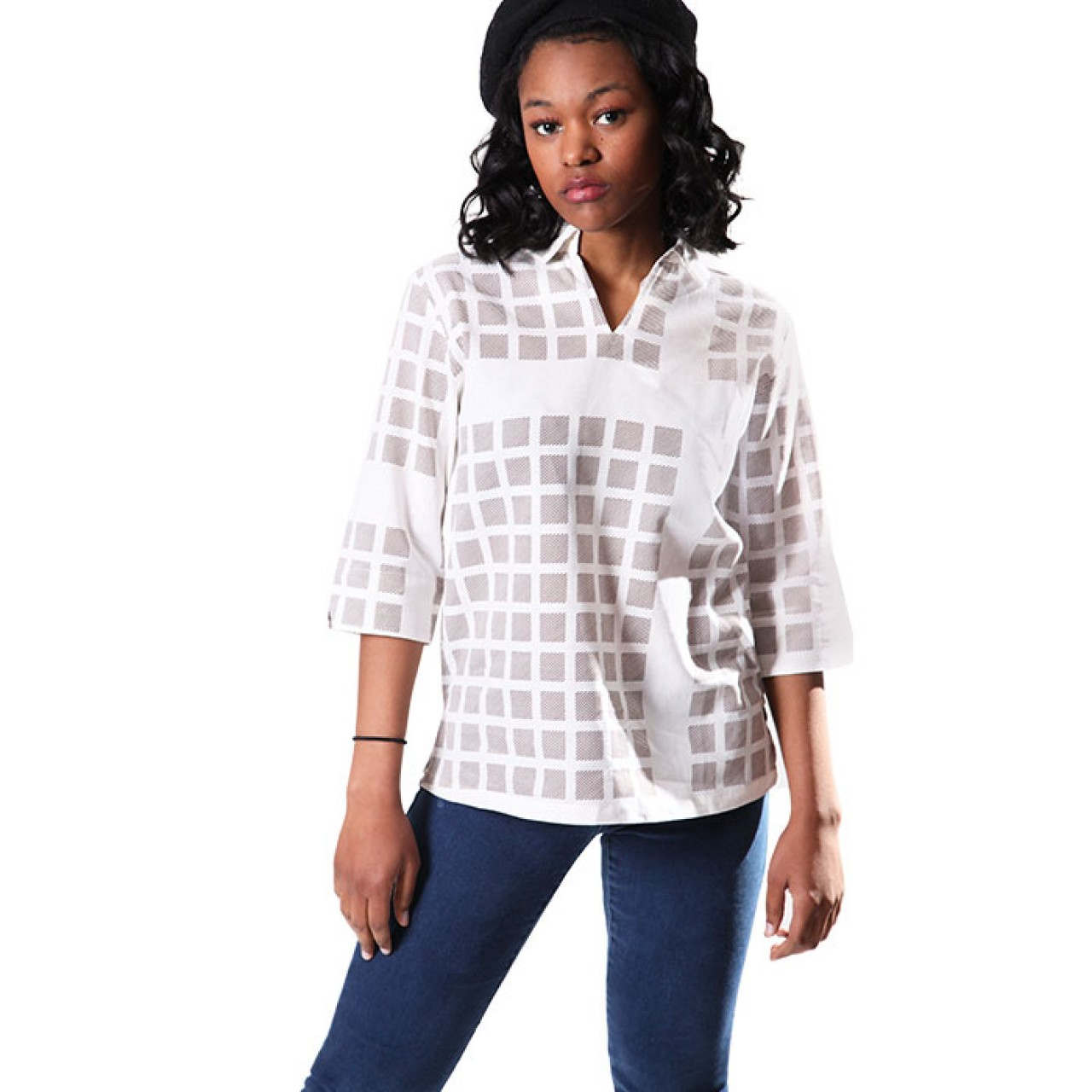 Women's Casual Checked White Shirt