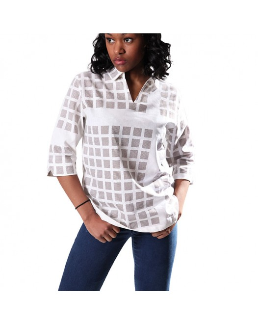 Women's Casual Checked White Shirt