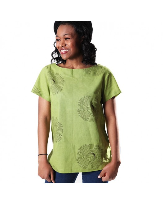 Women's Green Stylish Round Neck Casual Top