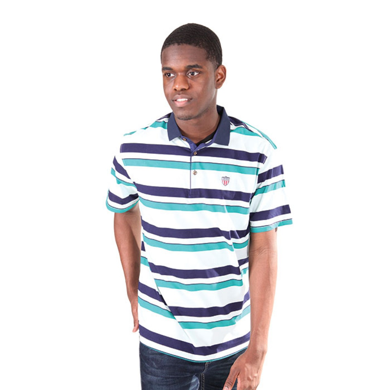 Men's Striped Classic Navy collared Polo Tee Shirt