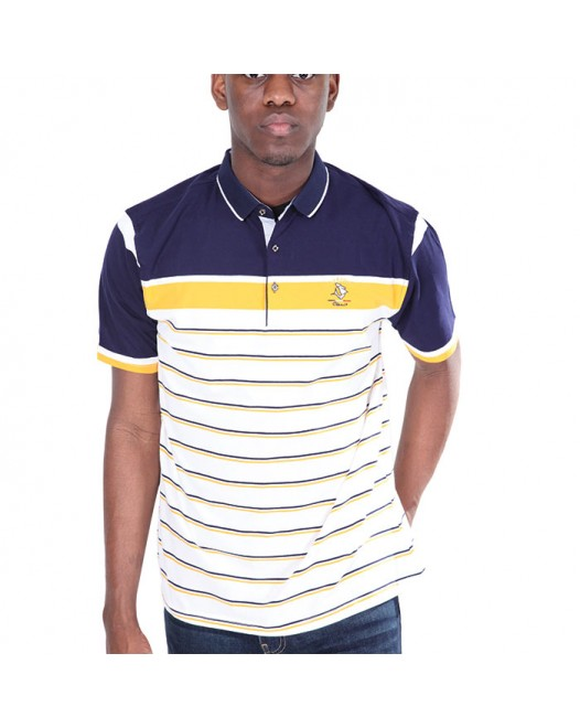 Men's White Patch Blue Collared Neck Tees