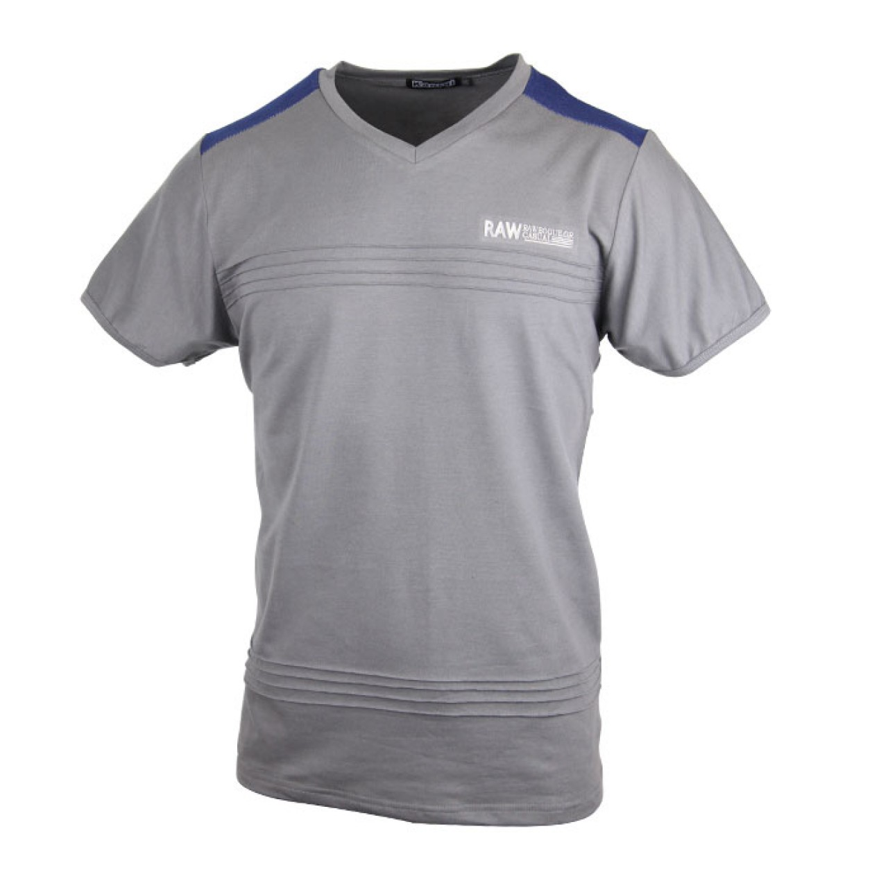 Men's Classic Ash color Crew Neck Tee With Different Color At Neck