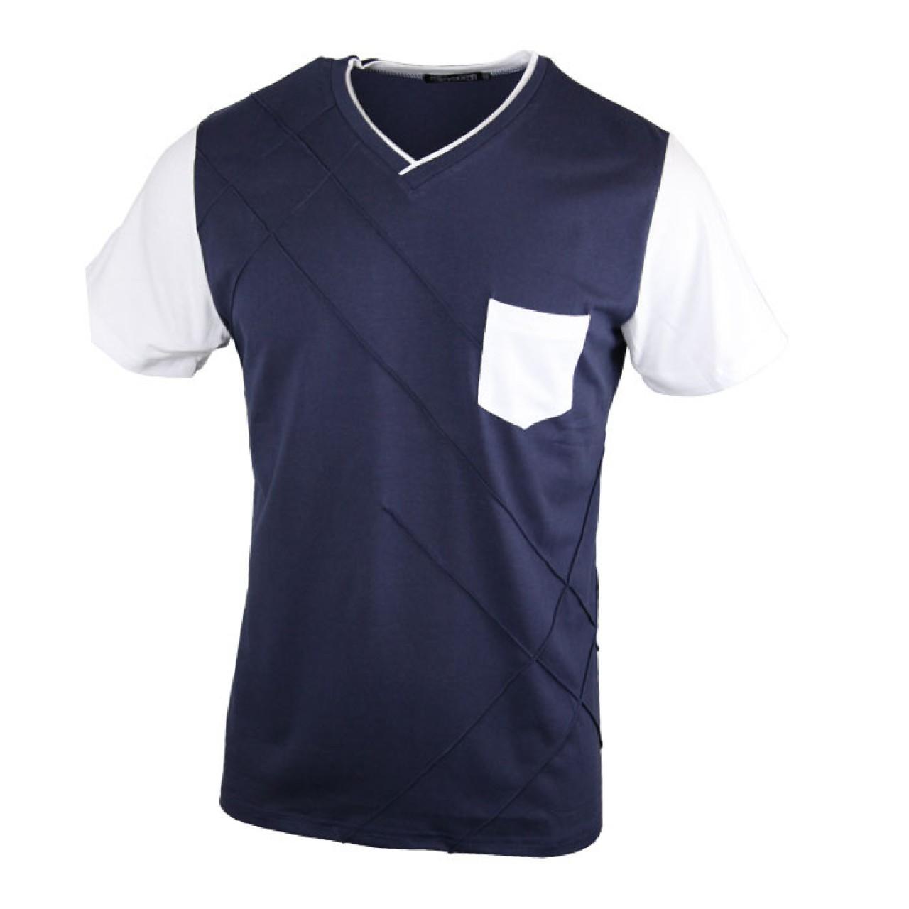 Men's Blue  V-neck Tee with Stripe Patten