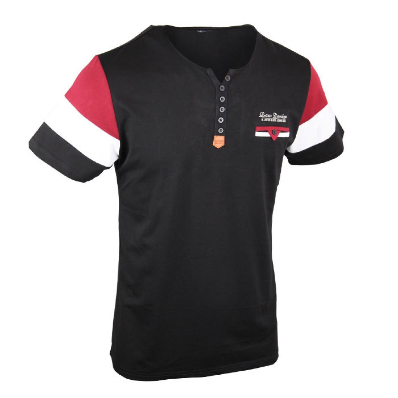 Men's Stylish Black Red Color Crew Neck Tee