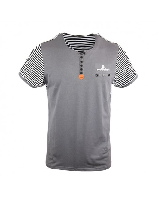 Men's Stylish Ash Stripe Crew Neck Tee