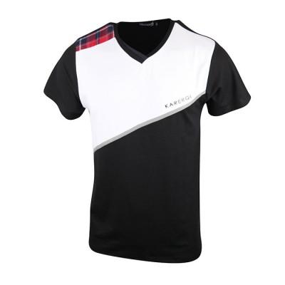 Men's Karerqi Black V-neck T-Shirt With Unique Design