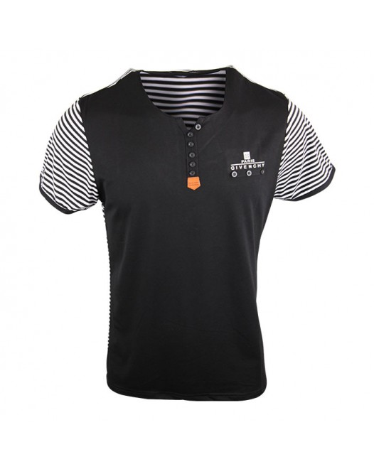 Men's Stylish Black Stripe Crew Neck Tee