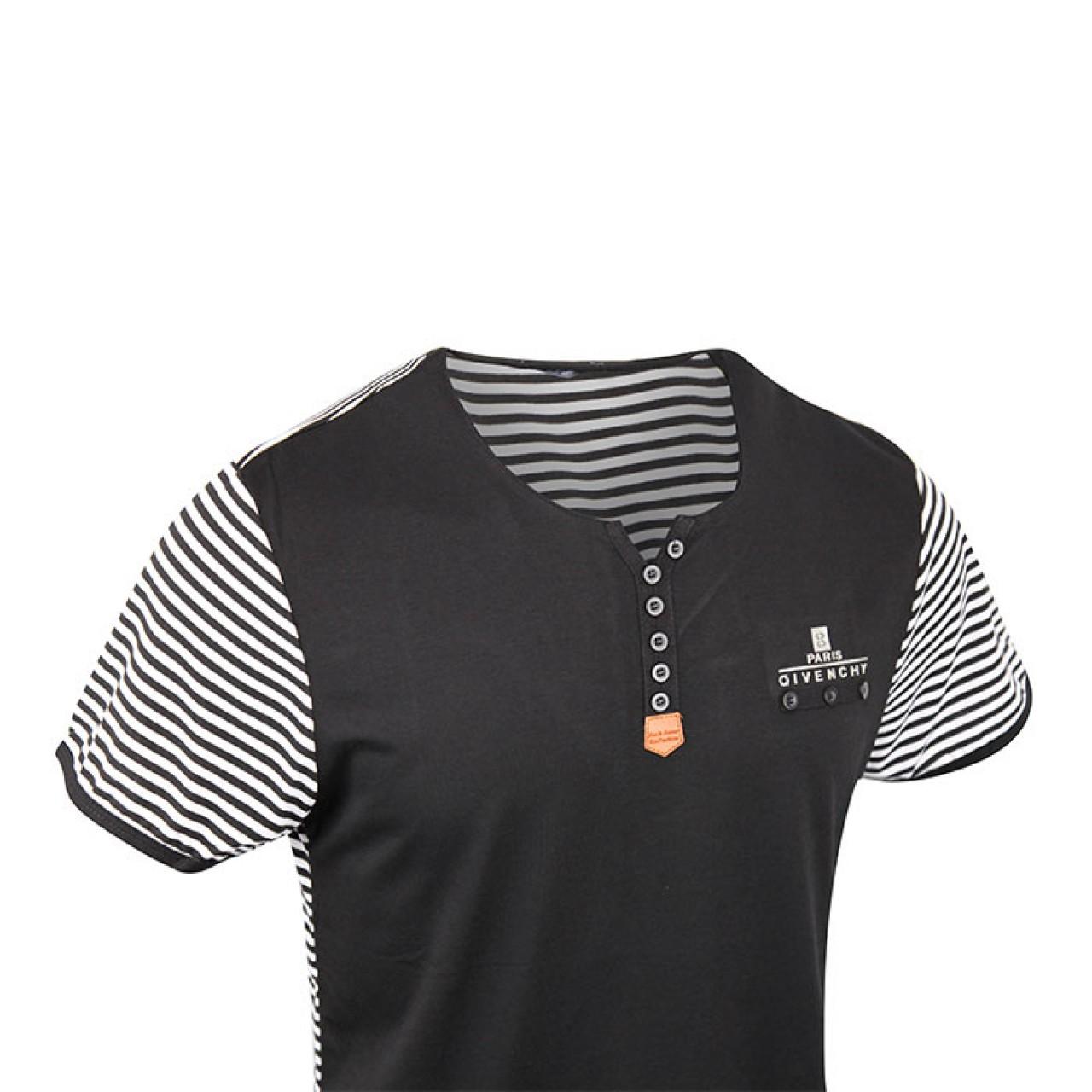 Men's Stylish Black Stripe Crew Neck Tee