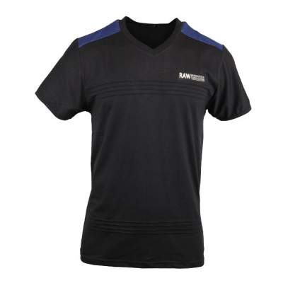Men's Dusty Black V-Neck Tee With Different Color At Neck