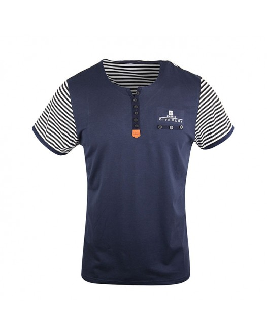 Men's Stylish Navy Blue Striped Crew Neck Tee
