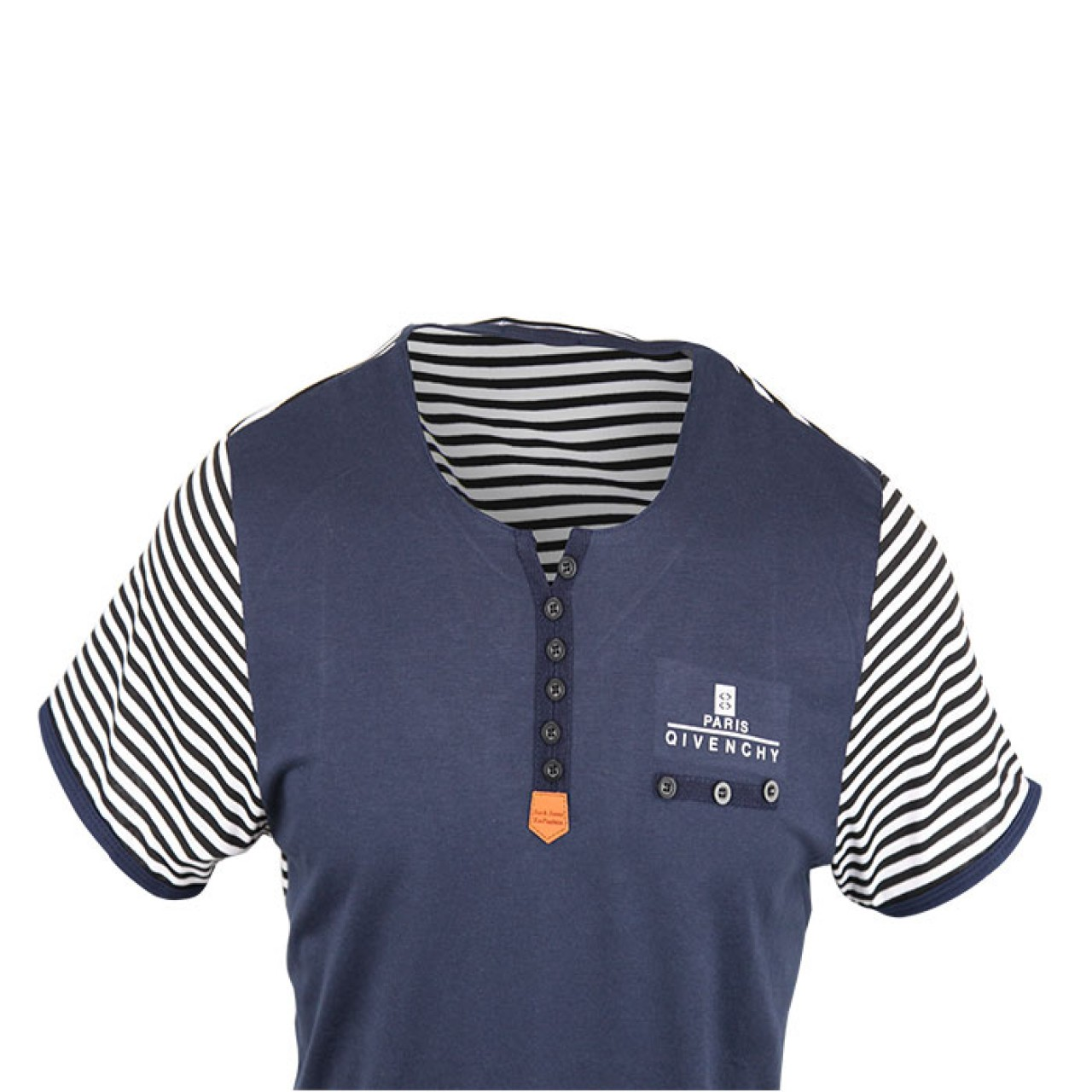 Men's Stylish Navy Blue Striped Crew Neck Tee