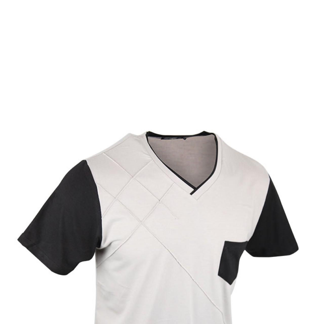 Men's V-neck Soft Gray Designer Stripe Tees