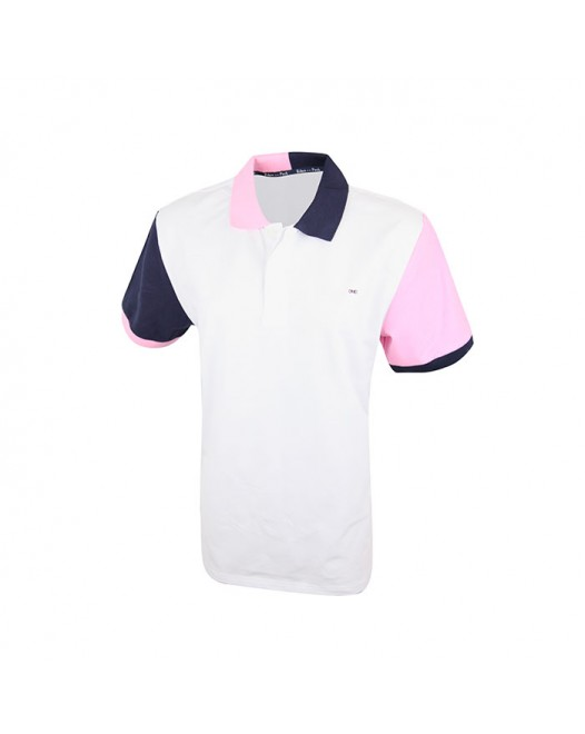 Men's White Tees With Multi-Color Collared Fit