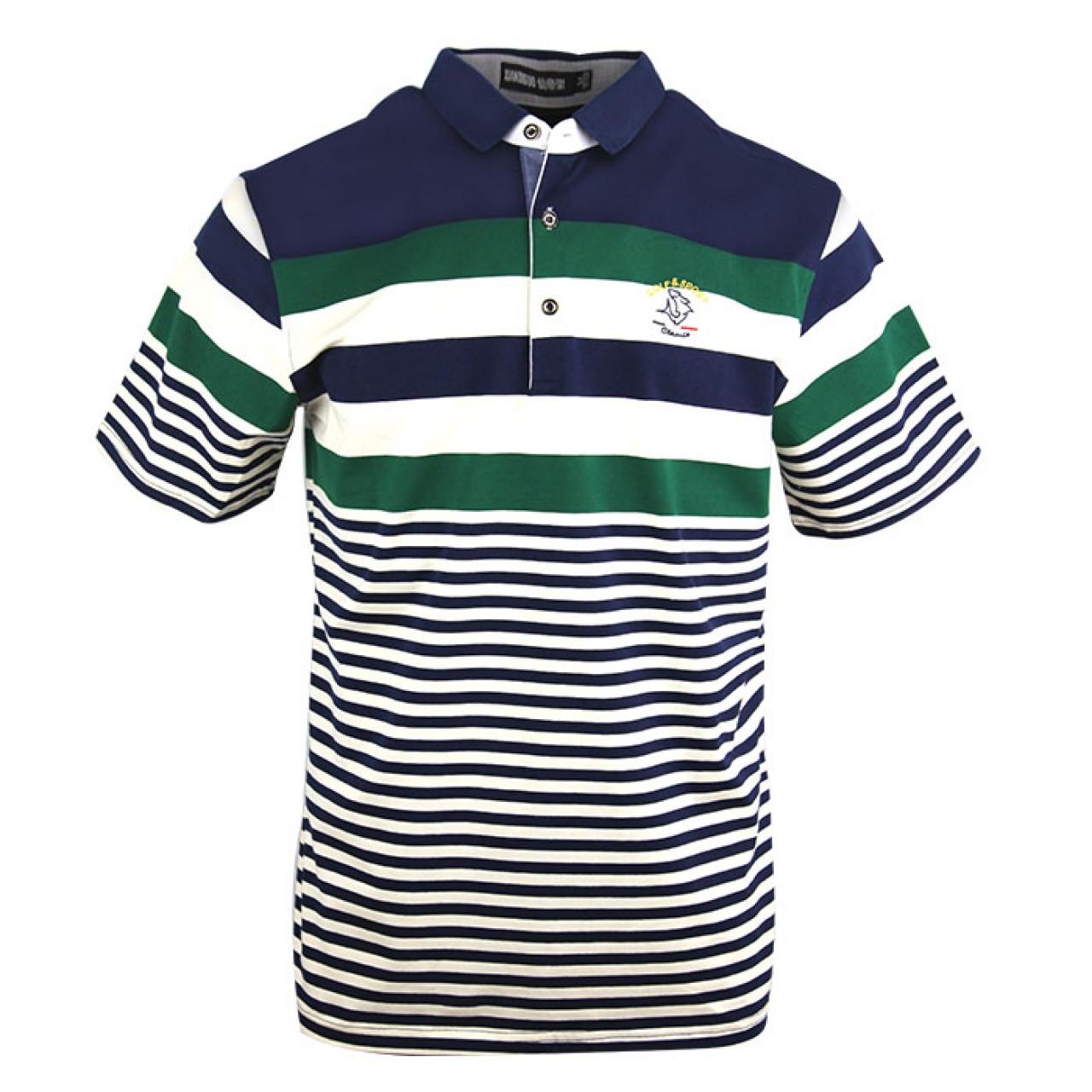 Men's Blue Collared Multicolor Stripe Tees