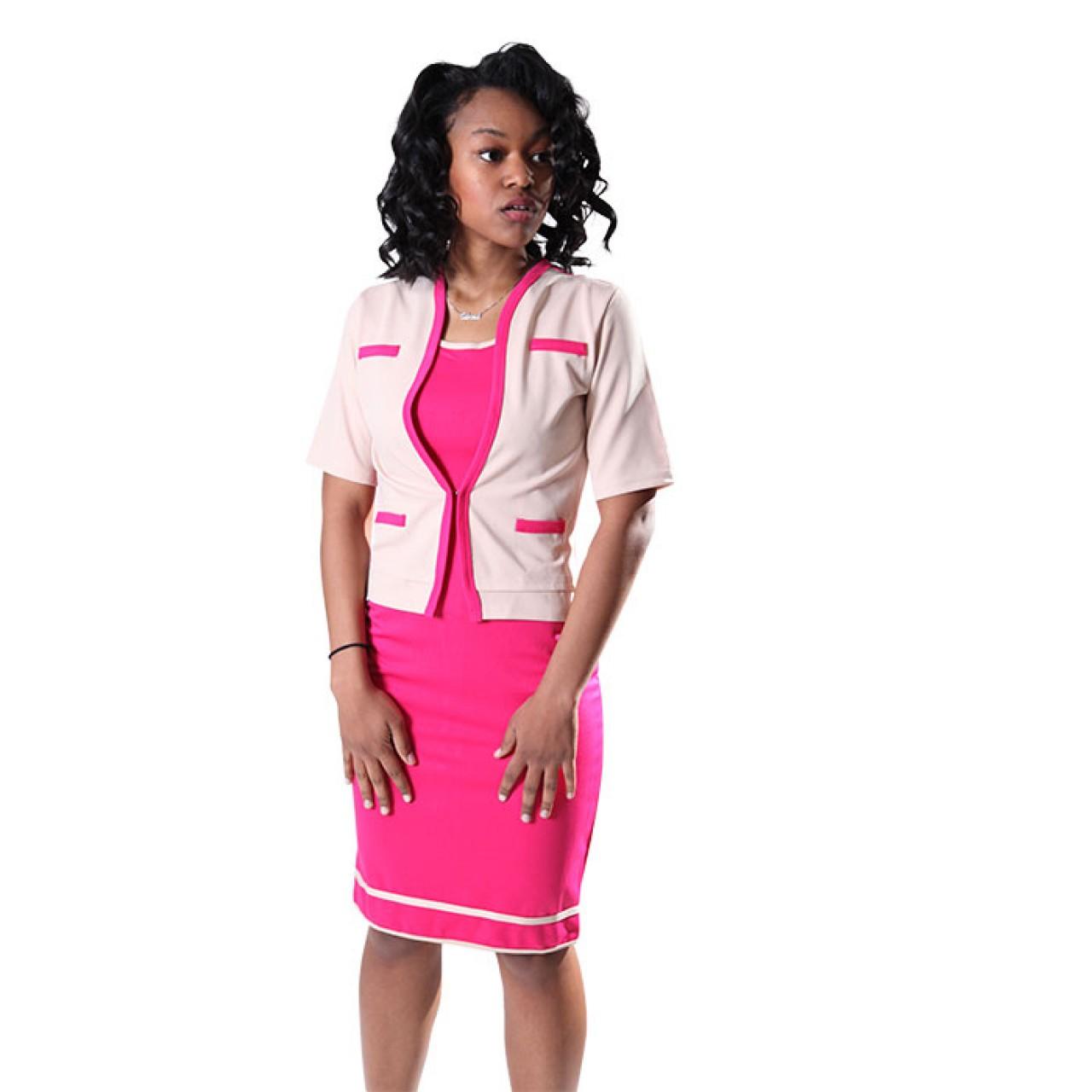 Women's Rose layer Midi Dress with Sleeve Waist coat