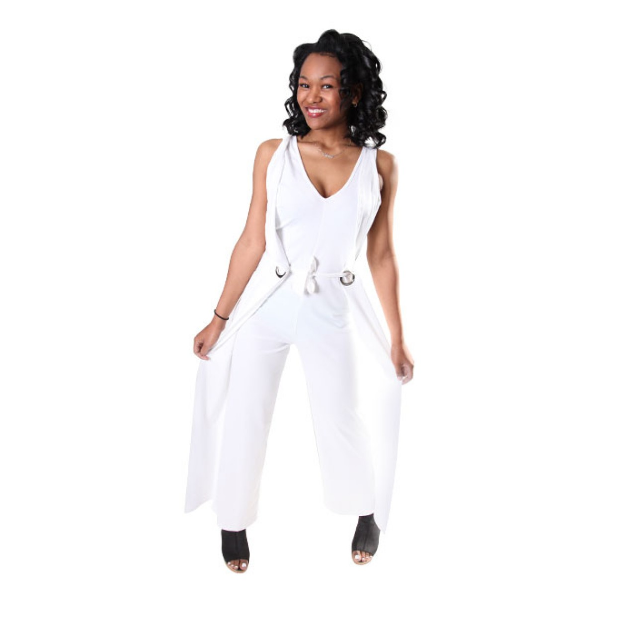 Sexy White Deep V Neck Wide Leg Solid Jumpsuits