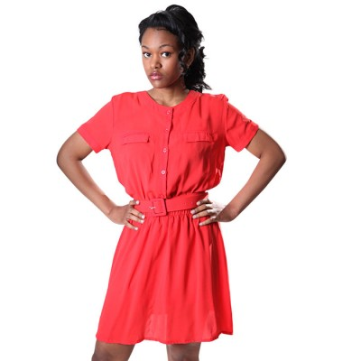 Women's Red Sleeve Crew-Neck Strappy Wrap Belted Dress