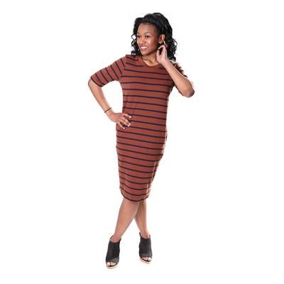 Women Browny Black Stripe Knitted Dress