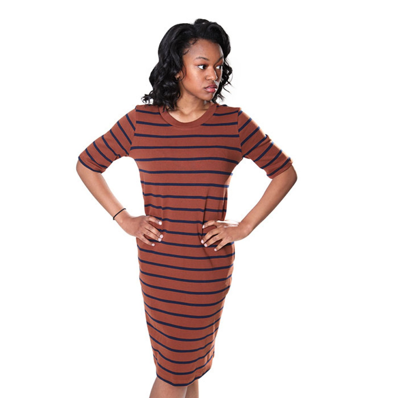 Women Browny black Stripe Knitted Dress