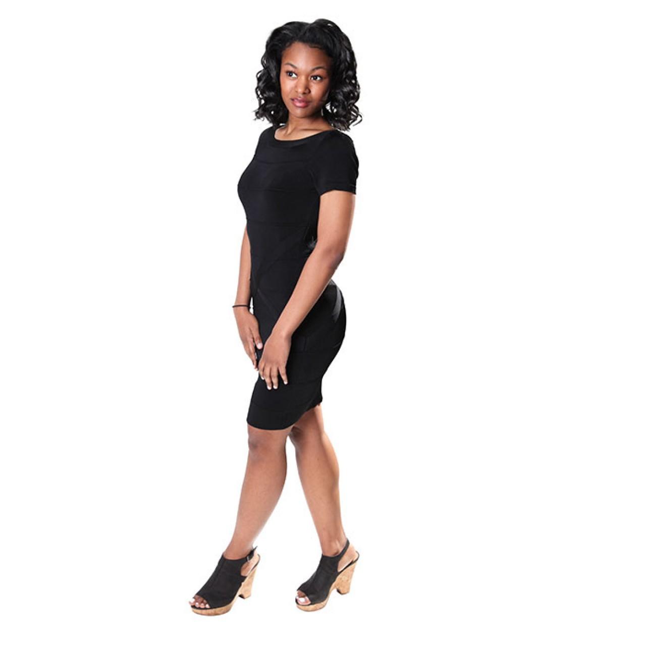 Women Dresses Black Stripe layer Color Bodycon