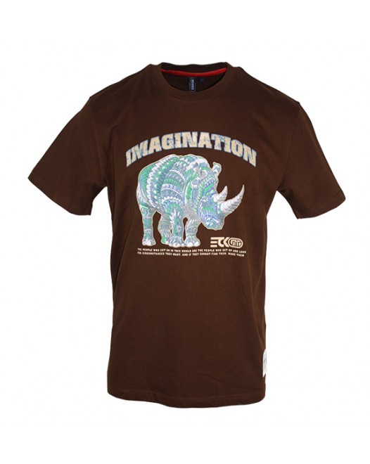 Men's Brown T-Shirt With Rhino Printed