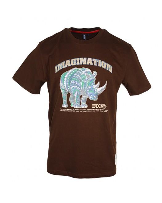 Men's Brown T-Shirt With Rhino Printed