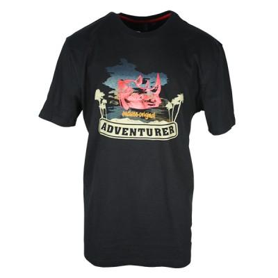 Men's Black T-Shirt With Rhino Printed