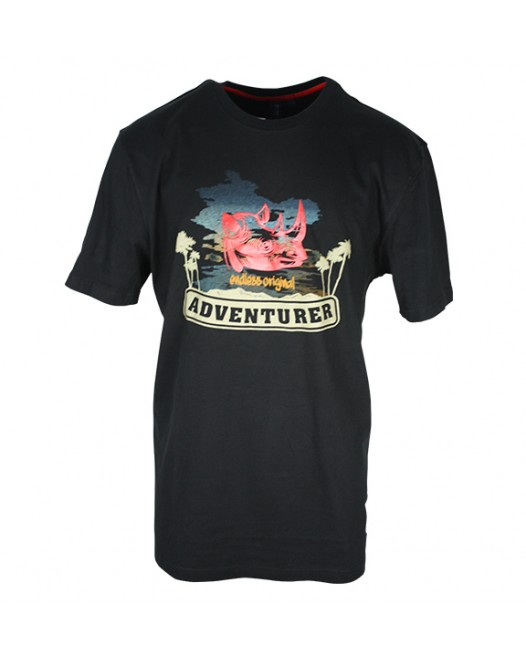 Men's Black T-Shirt With Rhino Printed