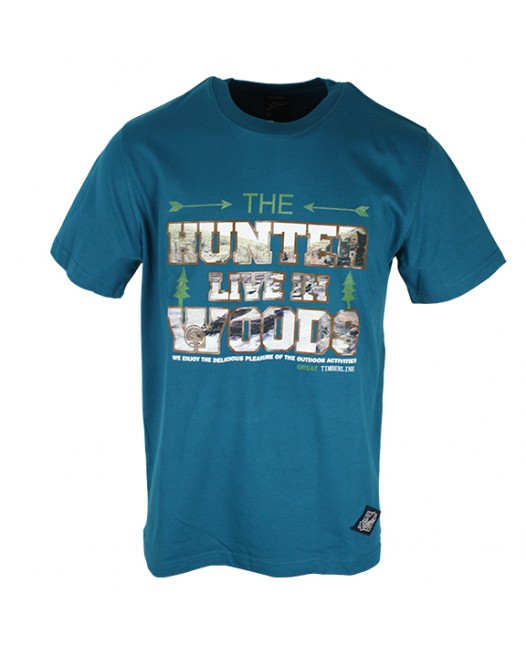 Graphic Printed Steel Blue T-Shirt