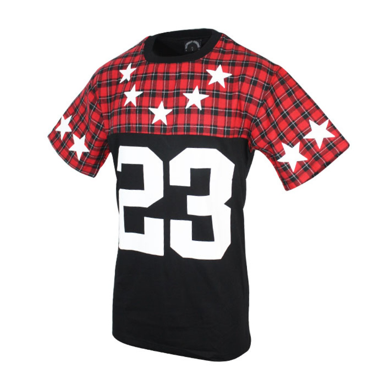 Men's Red Black Checked Printed Casual Tees