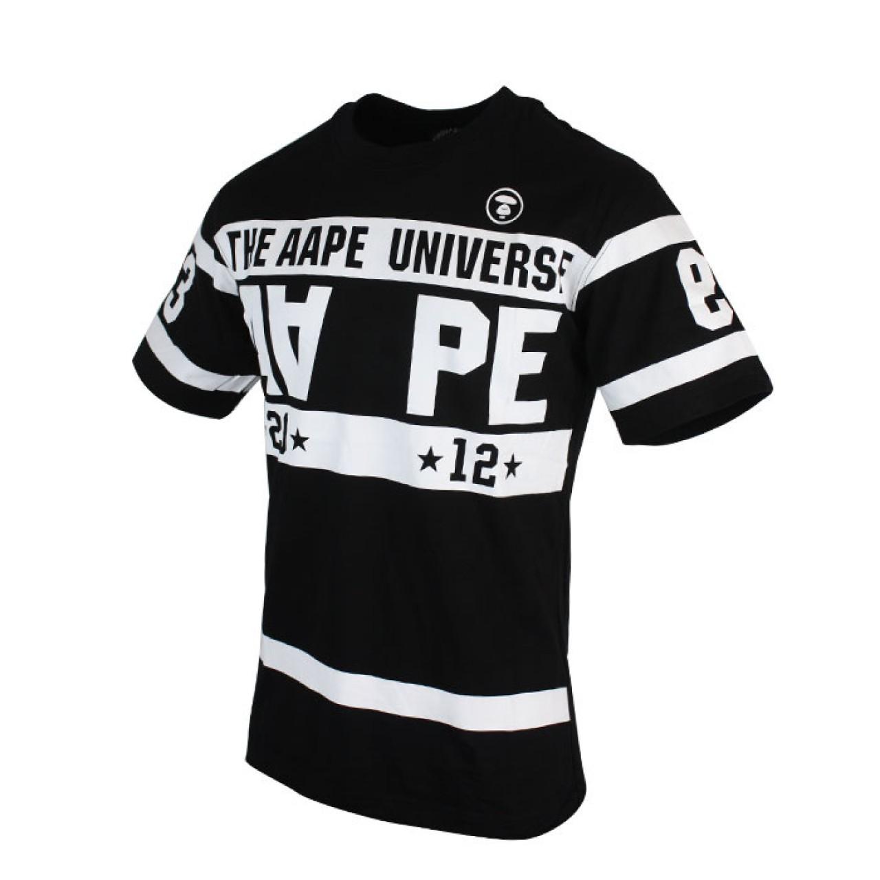 White Strip Mens Black Designer T-shirt