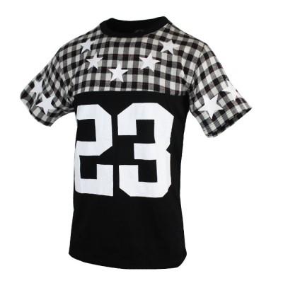 Men's Black Checked Design Sleeve Tees