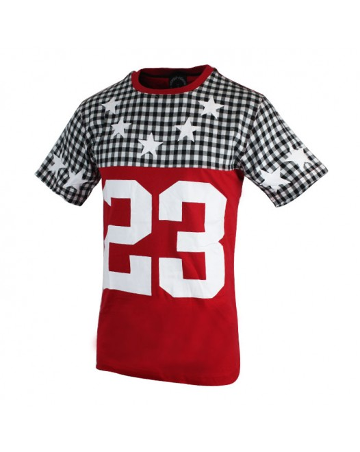 Men's Red Checked design Crew Neckline Sleeve Tees