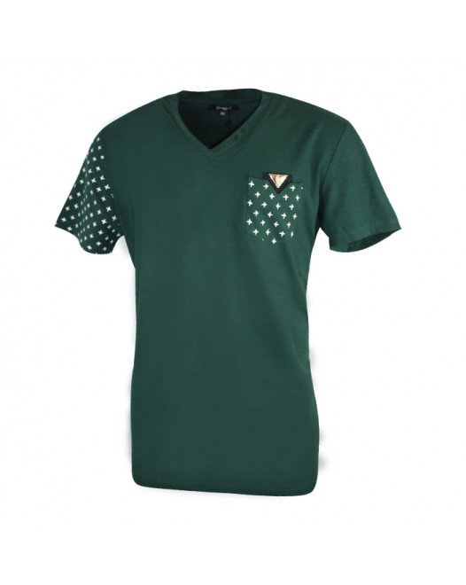 New Arrival Men's Military Green V-Neck T-shirt