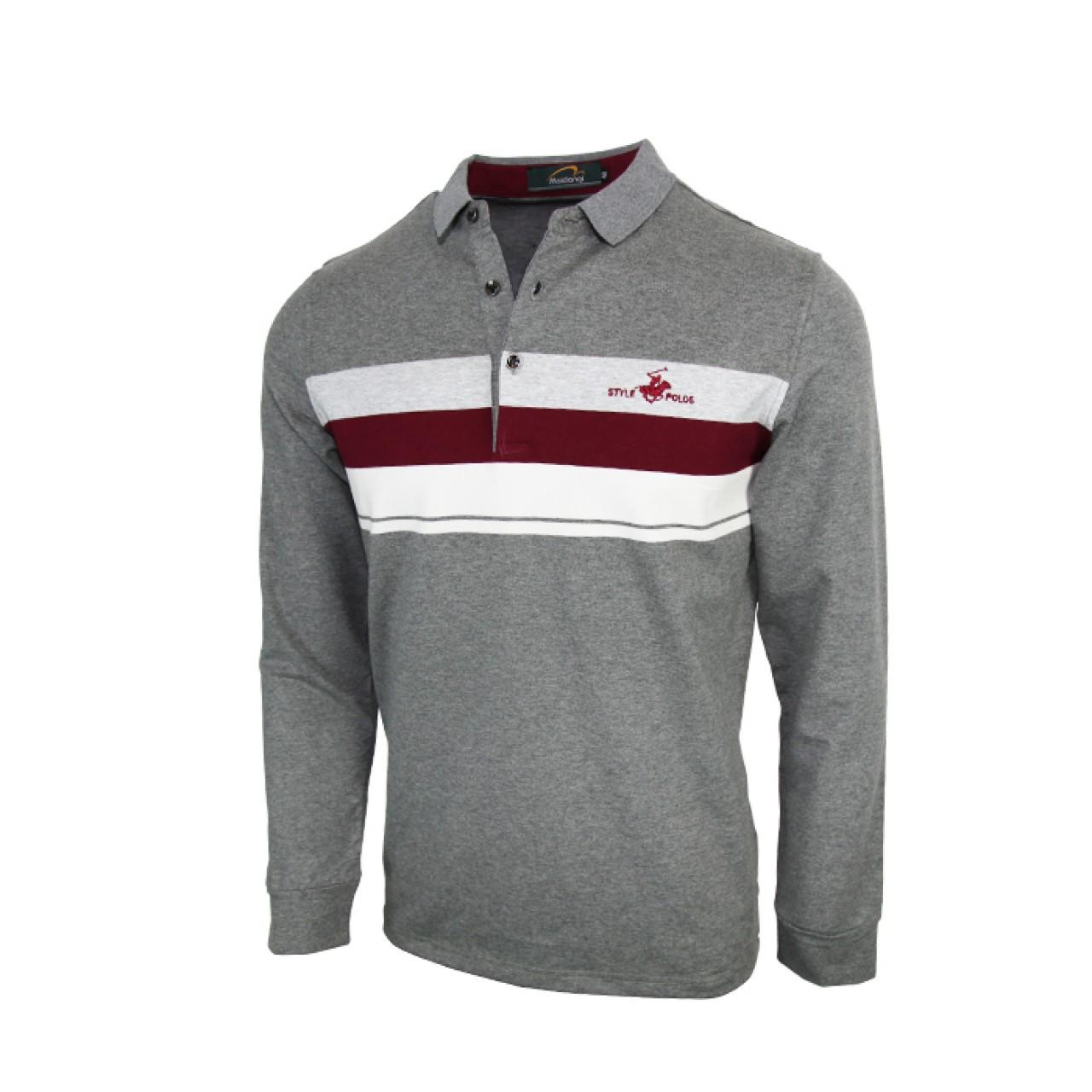 Men's Classic Grey Long Sleeve Polo Shirt