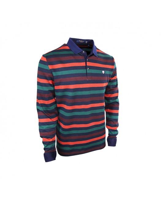 Multi-Color Full Sleeve Polo Shirt
