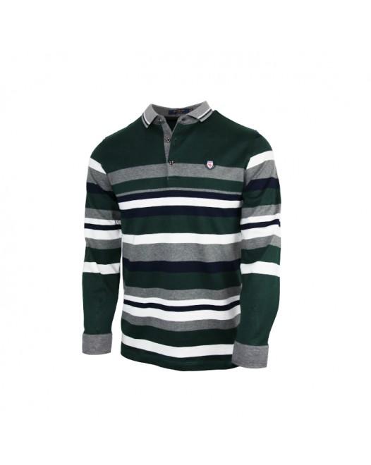 Men's Green Polo Shirt With White Striped
