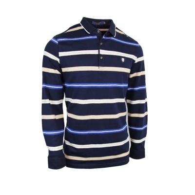 Dark Blue With White Strips Full Sleeve Polo Shirt
