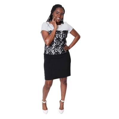 Women Pencil Skirt With Design Sleeve Top