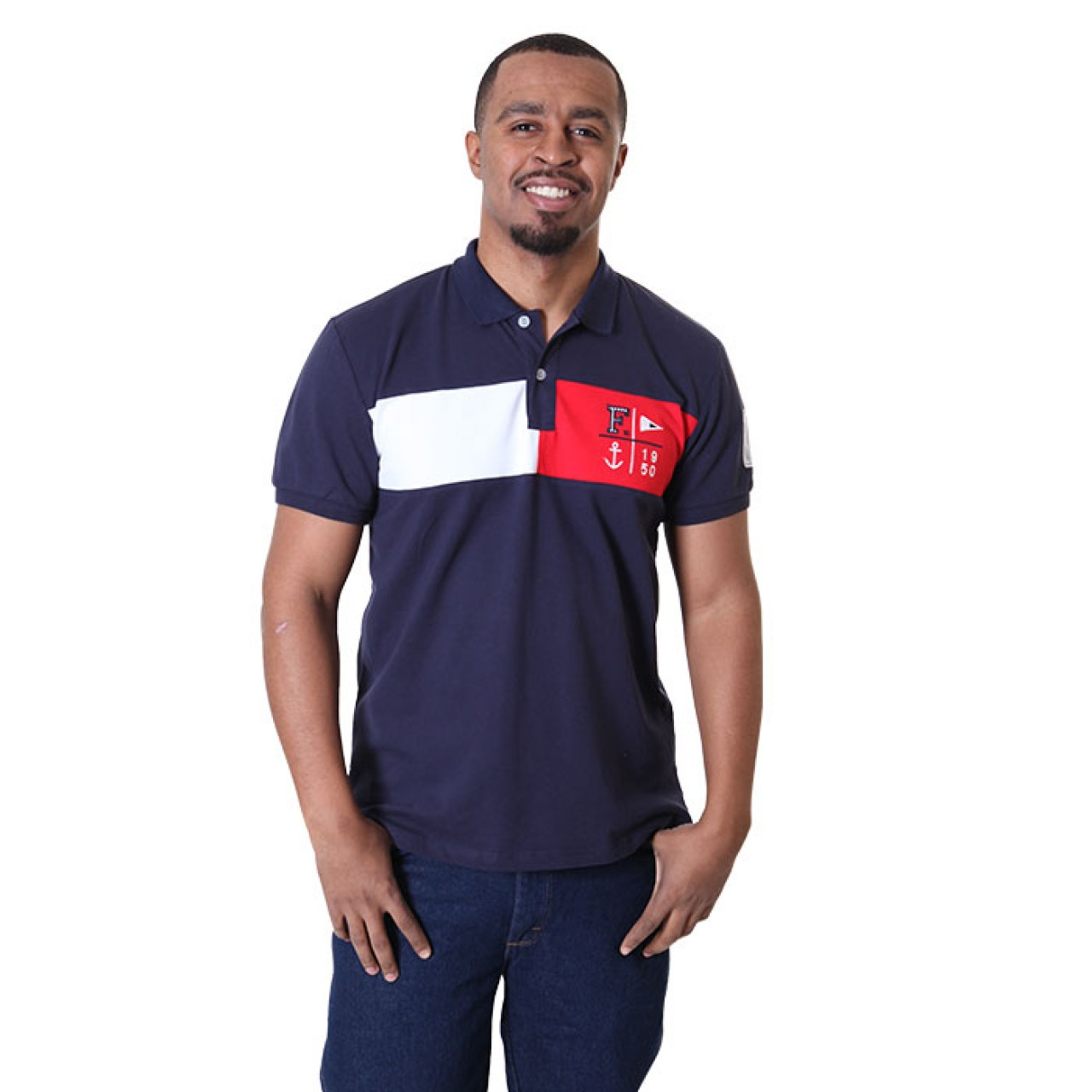 Men's Navy Blue Collared Neck Tees With Designer Patch At Chest