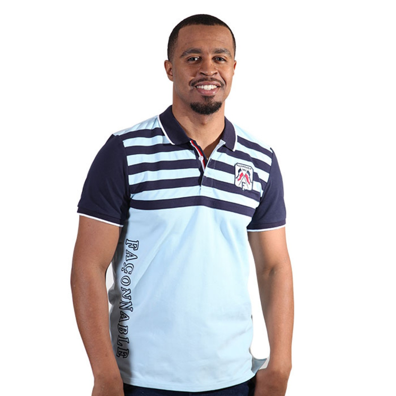 Men's Sky Blue Striped Collared Neck Tees