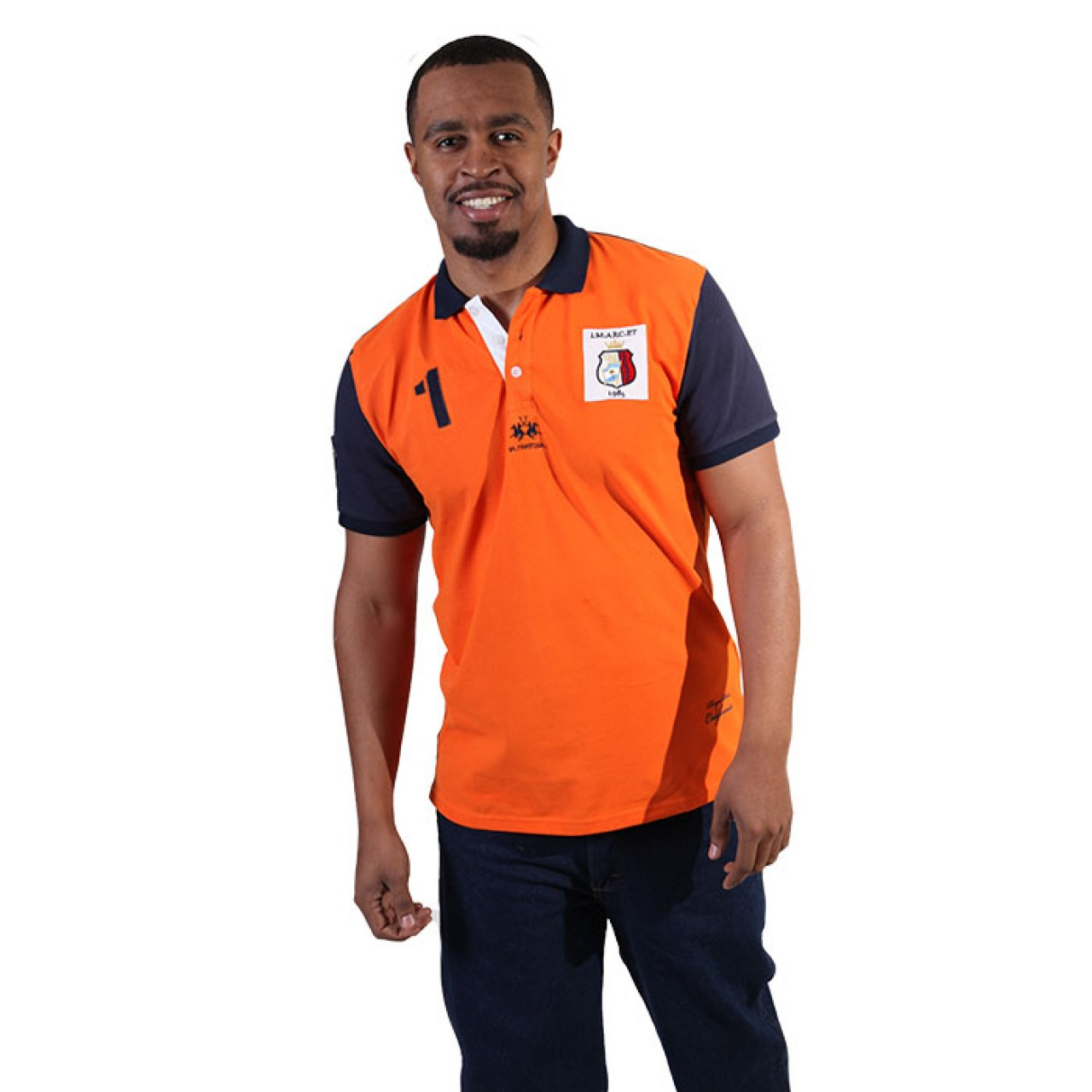 Men's Basic Fit Orange Collared Neck Tees