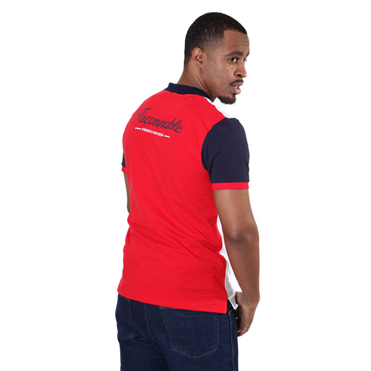 Men's White Red Sleeve Collared Tees