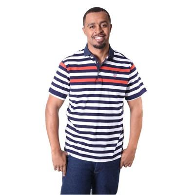 Men's Orange White Stripe Design Tees