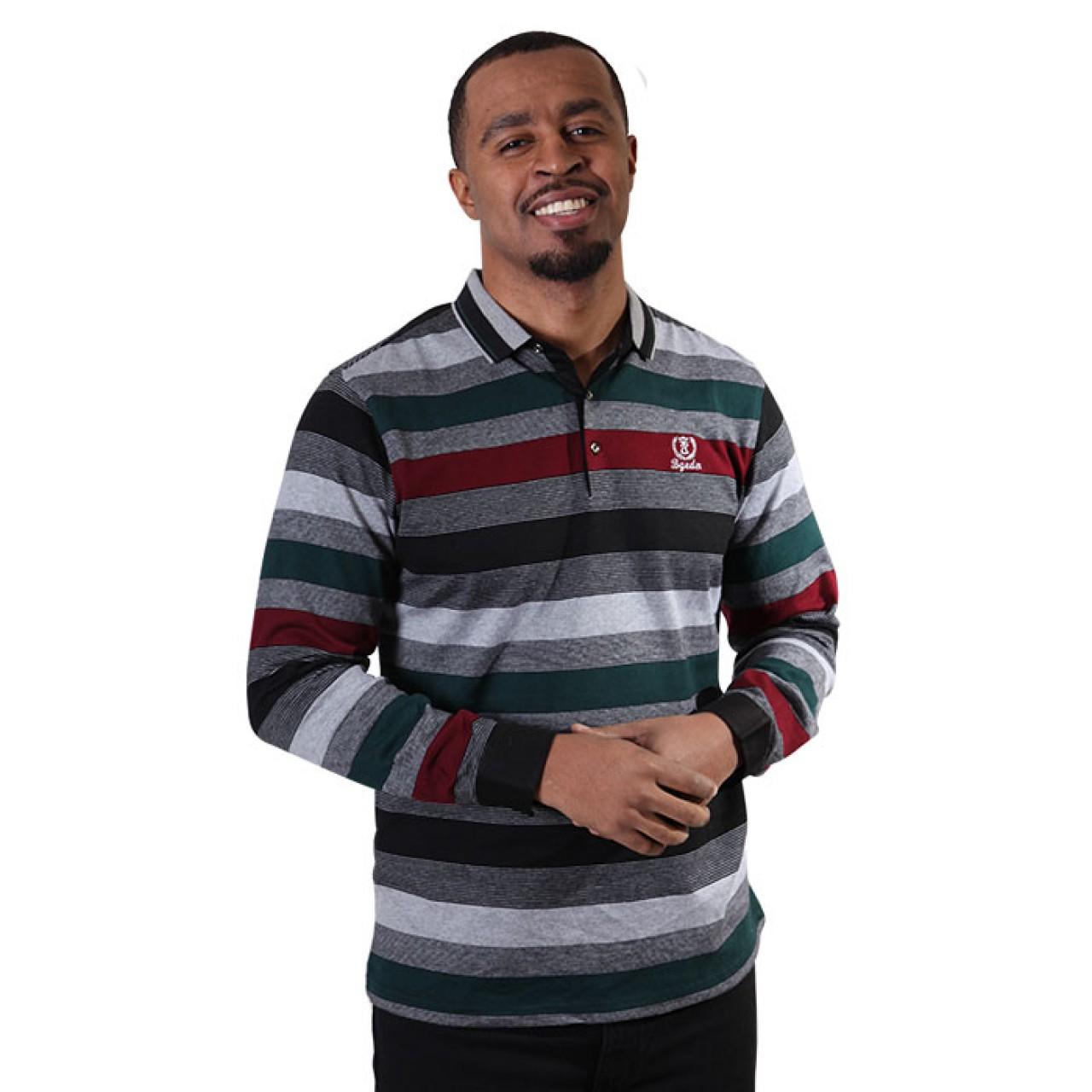 Men's Full Sleeve Stripe Collared Tees