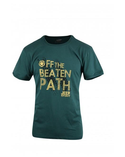 Men's JEEP SPIRIT Green Crew Neck T-shirt