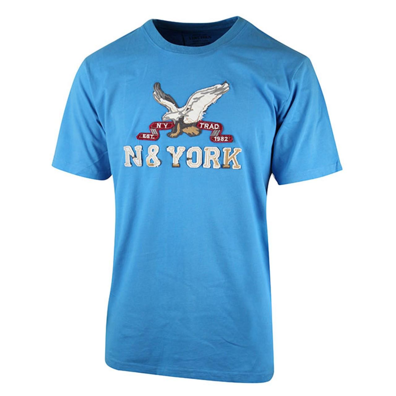 Men's Traditional Design Blue Easy Wear T-shirt