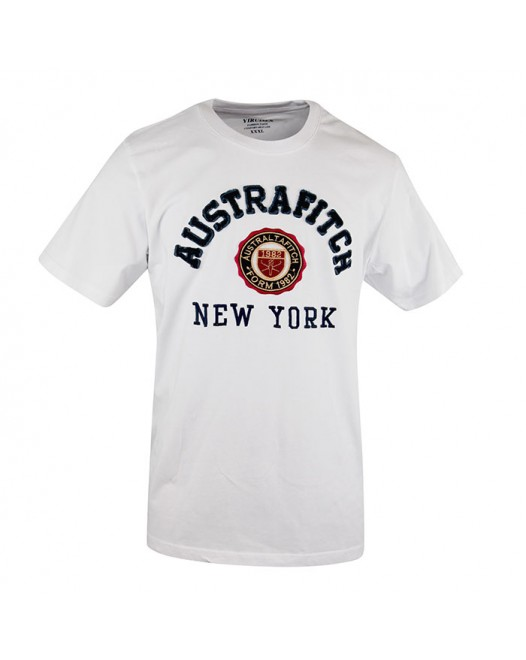 Printed Men's White Crew Neck T-Shirt