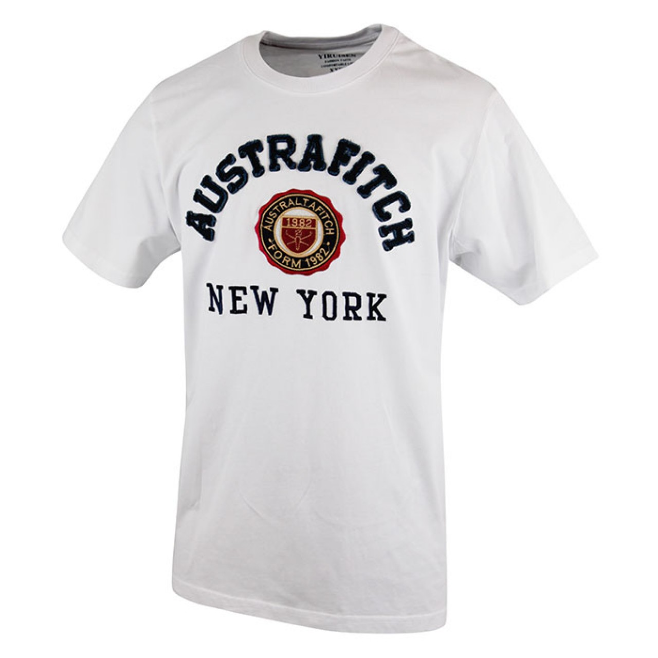 Men's AUSTRA-FITCH White Crew Neck T-shirt