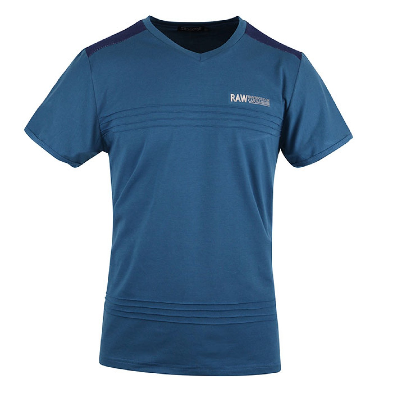 Men's Dusty Blue V-Neck Tee with Stripe at Chest